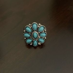 Silver Tone Ring with Faux Turquoise Stones